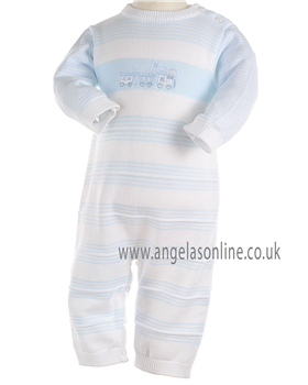 Pex Baby Boys White/Pale Blue All in One with Train Detail B5758
