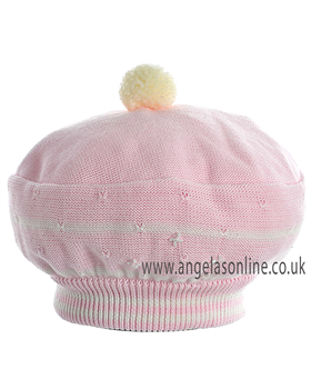 Pretty Originals Girls Pink & Cream Beret JP98380