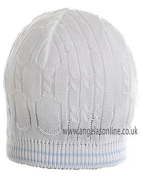 Pretty Originals Baby Boys Knitted Winter White & Blue Hat JP91360