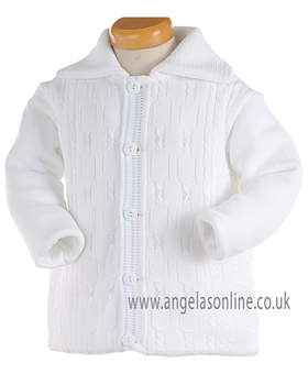 Pretty Originals Baby Boys Knitted White & Pale Blue Jacket JP91120