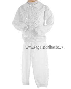 Pretty Originals Boys White Knitted Winter Top and Trousers JP95180