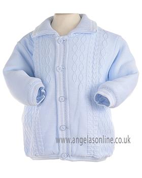 Pretty Originals Baby Boys Knitted Winter Blue/White Jacket JP95120