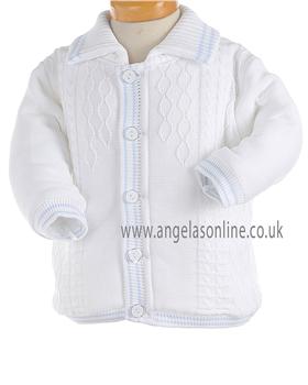 Pretty Originals Baby Boys Knitted Winter White/Blue Jacket JP95120