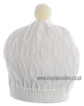 Pretty Originals Baby Boys/Toddler Knitted Cream Winter Hat JP95360