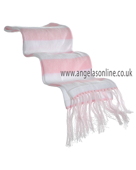 Pretty Originals Baby Girls Knitted Pink/White Winter Scarf JP99270