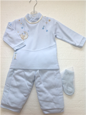 Coco Baby Boys Designer Pale Blue Top Trousers & Socks A3043