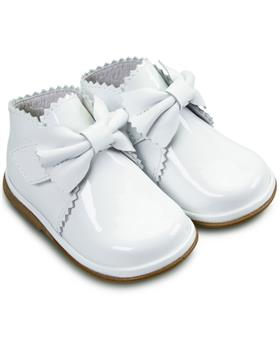 Fofito Girls White Patent Leather Boot Sharon 1122