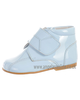Andanines Boys Velcro Strap Pale Blue Patent Leather Boot 71236