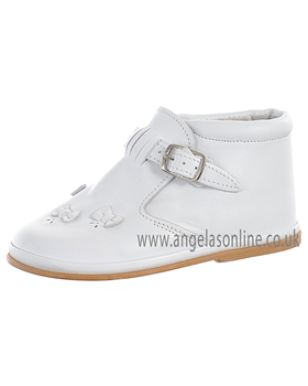 Fofito Baby/Toddler Hard Sole White Leather Girls Boot 1050