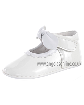Andanines Baby Girls Soft Sole White Patent Leather Pram Shoes 10118