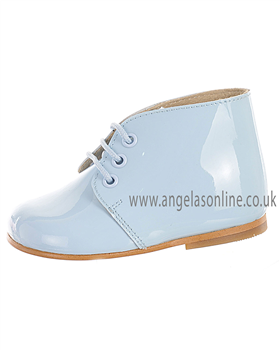 Panyno Boys Smart Lace Up Pale Blue Patent Leather Boots B1515