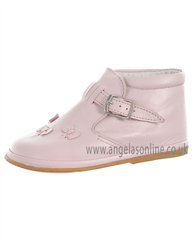 Fofito Baby/Toddler Girls Leather Pale Pink Smart Ankle Boot 1050
