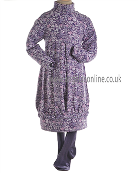 Mayoral Girls Long Sleeved High Neck Dress with Tights 4933 Purple