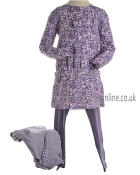 Mayoral Girls Purple Long Sleeved Winter Flowery Top & Leggings 4711