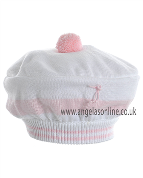 Pretty Originals Girls White and Pink Striped Winter Beret JP99380