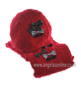 Deux Par Deux Girls Hat & Scarf ETB/ETF Red