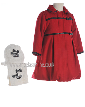 Deux Par Deux Girls Red  Coat E57/741