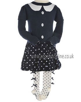 Boboli Girls Winter Knitted/Cord Dress & Bow Tights Navy/Cream 705158