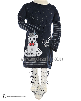 Boboli Girls Polar Bear Jumper Dress & Tights 705147 Navy
