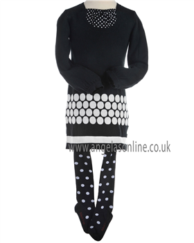 Boboli Girls Navy/White Spotty Winter Dress and Spotty Tights 721134