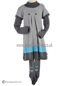 Boboli Girls Jumper Dress, High Collared Top & Tights 703101 Grey