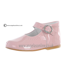 Andanines Girls Diamonte Buckle Pink Patent Leather Shoe A71032