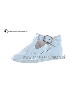 Andanines Boys Patent Leather Pale Blue Soft Sole Pram Shoe 11011