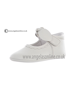 Andanines Baby Girls Soft Ivory Leather, Velcro Strap Shoes 10118