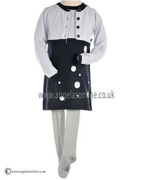 Boboli Dress, Tights and Matching Cardigan. Navy/Grey 721055/721099