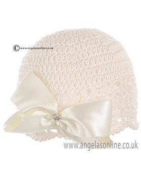 Emile et Rose Cream Crochet/Bow Hat. 123/3