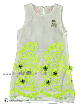 No No Girls  White/Lime Green Dress 15190102