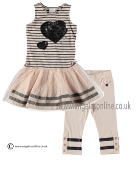 S&D Le Chic Girls Striped Dress & Cropped Leggings 24115713/5615