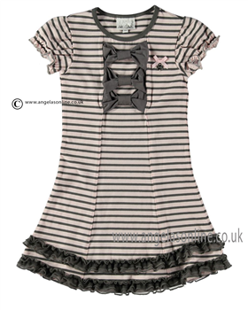 S&D Le Chic Girls Striped Dress 24115708 Pink/Grey