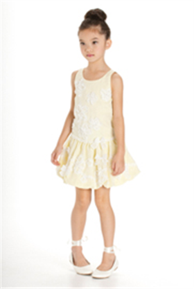 Kate Mack Girls Dress 186MSC WH/YEL