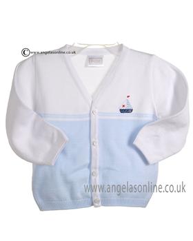 Pex Baby Boy White and Blue Regatta Cardigan B5898