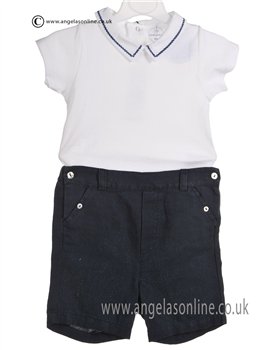 Laranjinha Baby Boys White and Navy 2 Piece 5214/5303