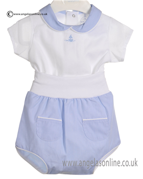 Laranjhina Baby Boys Blue and White 2 piece V4055