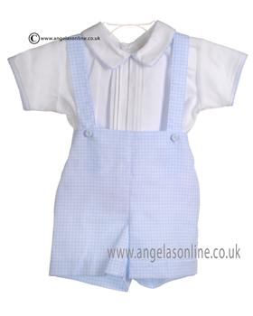Pretty Originals Baby Boys Blue and White Shirt Dungaree & Cap DL61534