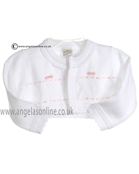 Pretty Originals Baby Girls White and Pink Bolero JP02848