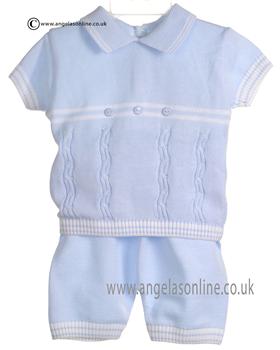 Pretty Originals Baby Boys Blue/White Top & Shorts JP86180