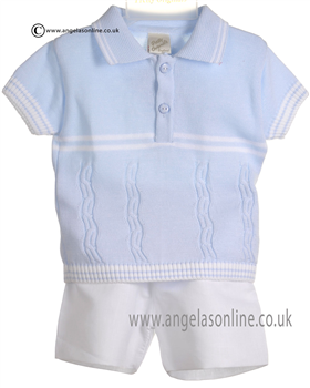 Pretty Originals Baby Boys Blue Top & White Shorts JP86185