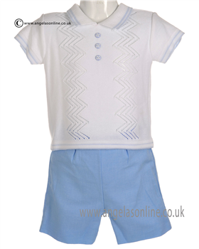 Pretty Originals Baby Boys White and Blue Top & Shorts JP84185