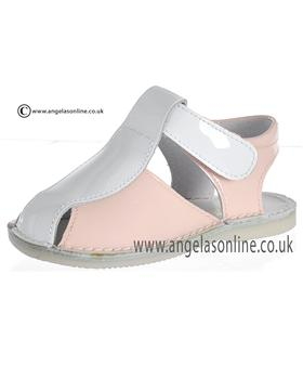 Pretty Originals Baby Girls Pink and White Sandal UE01262