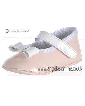 Pretty Originals Baby Girls Pink and White Shoe UE02656