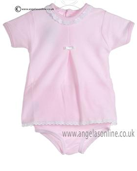 Babidu Baby Girls Pink and White Two piece 432