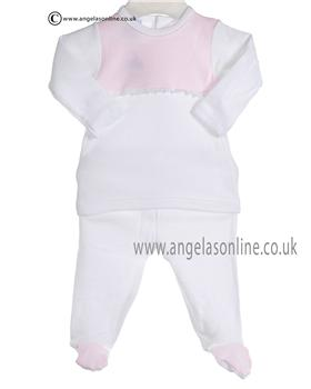Babidu Baby Girl White and Pink Two piece 5612