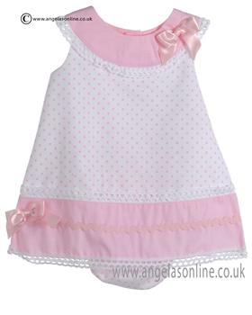 Pretty Originals Baby Girls Pink and White Dress & Knicks MB10190E