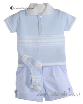 Pretty Originals Baby Boys Blue and White Top & Shorts MB10199E