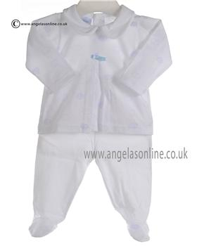Babidu Baby Boys White and Blue Two piece Outfit 5516
