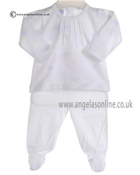 Babidu Baby Boys White and Blue Two Piece Outfit 5416